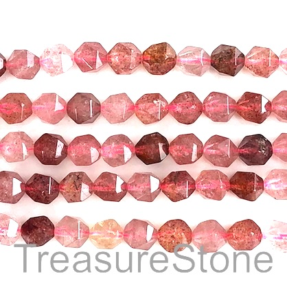 Bead, Strawberry Quartz, 7x8mm, faceted, star cut. 15.5 inch, 49