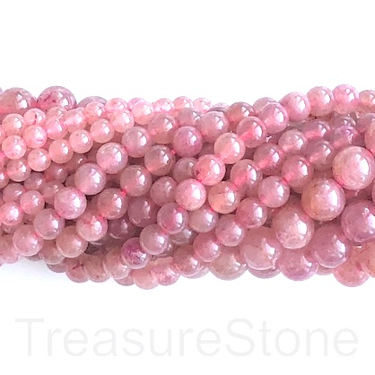 Bead, Strawberry Quartz, 8mm round. 15.5-inch, 49pcs