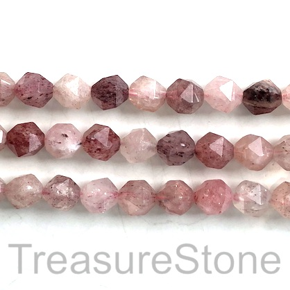 Bead, Strawberry Quartz,9x10mm, faceted, star cut,A-.15.5inch,40