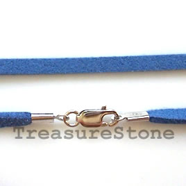 Cord, suedelook w sterling silver clasp, connector, blue,18 inch