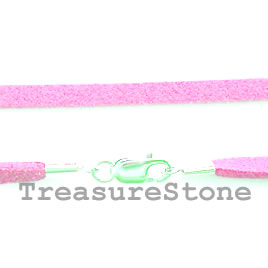 Cord, suedelook w sterling silver clasp, connector, pink,18 inch