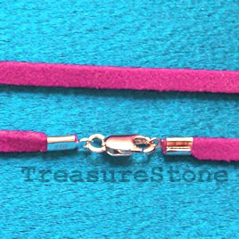 Cord,suedelook w sterling silver clasp, connector,purple,18 inch
