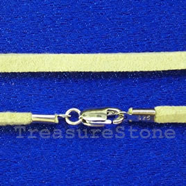 Cord,suedelook w sterling silver clasp, connector,yellow,18 inch