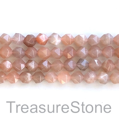 Bead, sunstone, 7x8mm faceted nugget. 15.5-inch, 50pcs