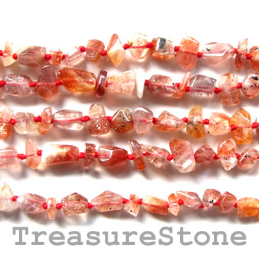 Bead, Sunstone, nugget, about 7mm. 16-inch strand.