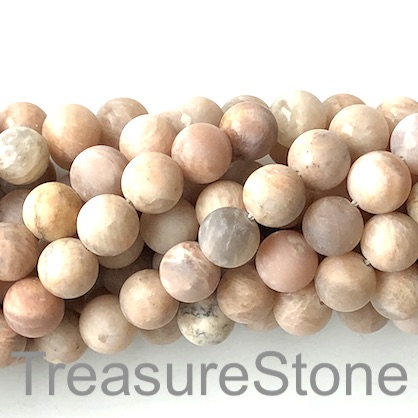 Bead, Sunstone, 10mm round matt, grade B-. 15-inch, 38pcs