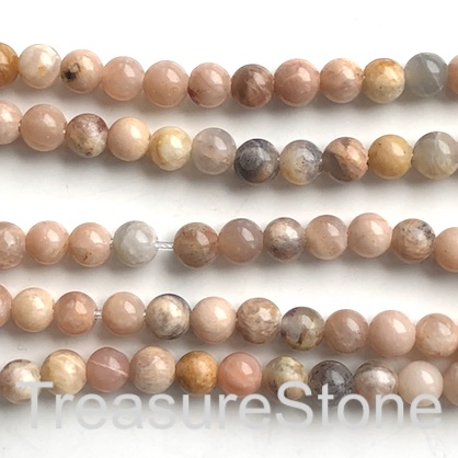"Bead, Sunstone, 8mm round, large hole, 2mm. 15"", 48pcs"
