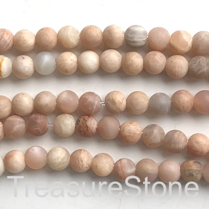 "Bead, Sunstone, 8mm round, matte, large hole, 2mm. 14.5"", 48pcs"