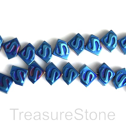 Bead, hematite, 6x8mm, blue superman symbol. 15.5-inch, 68pcs