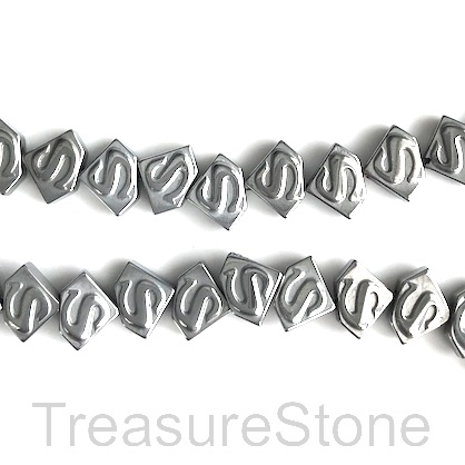 Bead, hematite, 6x8mm, silver superman symbol. 15.5-inch, 68pcs
