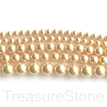 Pearl, Swarovski crystals, bright gold, 4mm round (5810). 100pcs