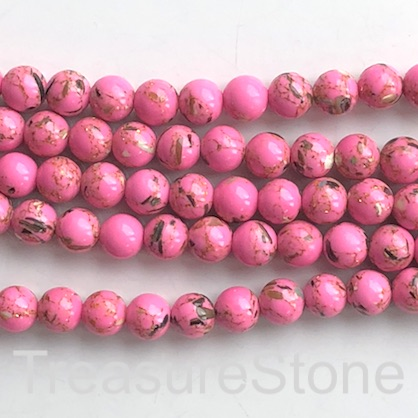 "Bead, syn stone, 8mm round, bright pink gold pattern. 15"", 48"