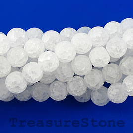 Bead, synthetic ice flake quartz, 8mm round, matt.16-inch, 54pcs