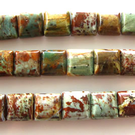 Bead, synthetic jasper, 11mm double-drilled pillow. 15.5 inch.