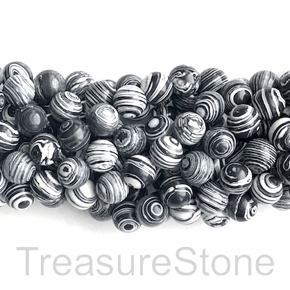 "Bead, synthetic malachite, 8mm round, black, white. 14"", 47"