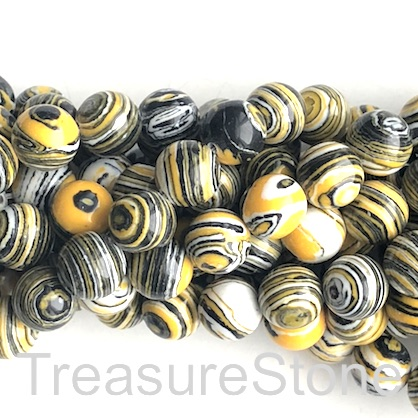 "Bead, synthetic malachite, 8mm round, black,yellow,white. 14"",50"