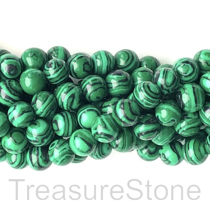 "Bead, synthetic malachite, 6mm round. 15.5"", 66"
