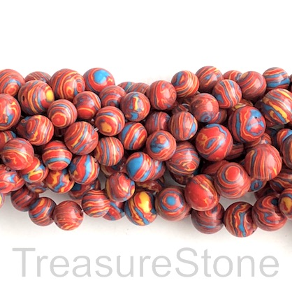 "Bead, synthetic malachite,10mm round, red, blue, yellow. 15"", 40"