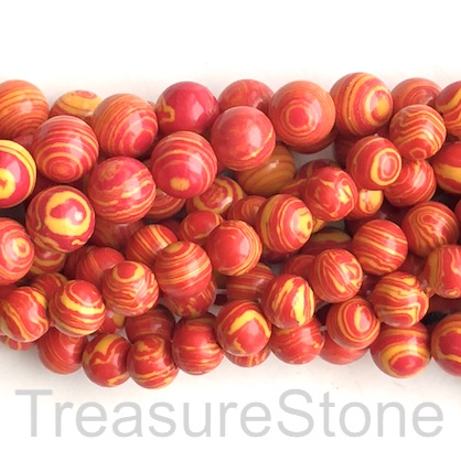 "Bead, synthetic malachite, 8mm round, red, yellow. 15"", 49"