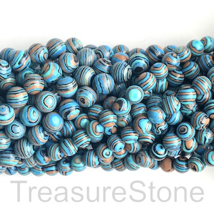 "Bead, synthetic malachite, 8mm round, turquoise, orange.15.5"",49"