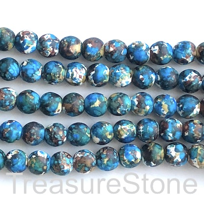 "Bead, synthetic turquoise, 8mm round, blue brown. 15"", 50"