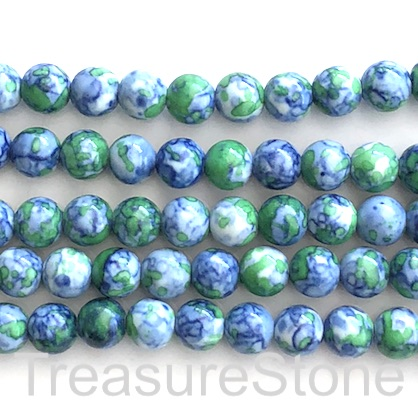 "Bead, synthetic turquoise, 8mm round, blue green. 15"", 47"
