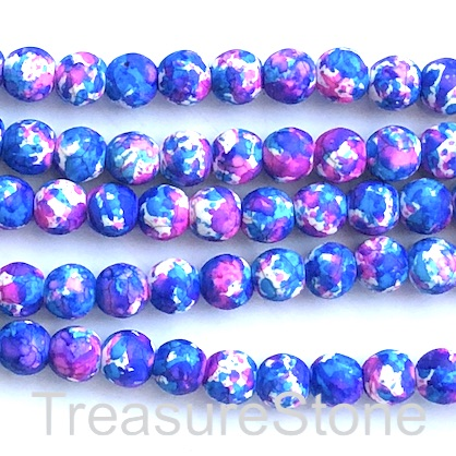 "Bead, synthetic turquoise, 8mm round, blue pink. 15"", 50"