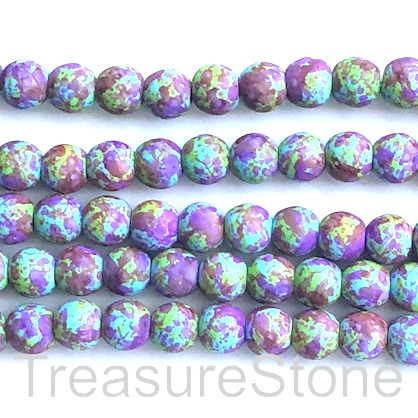"Bead, synthetic turquoise, 8mm round, green purple. 15"", 50"