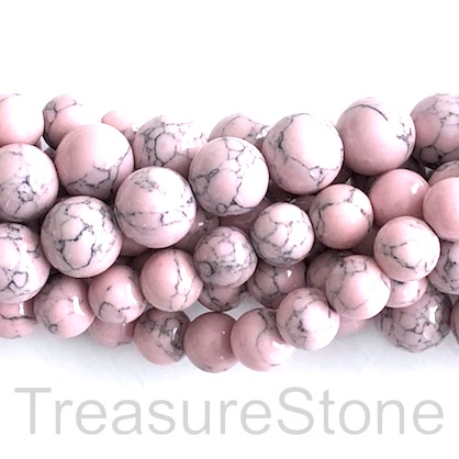 "Bead, synthetic turquoise, 8mm round, light pink. 15"", 50"