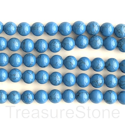 "Bead, synthetic turquoise, 8mm round, mid blue. 15"", 50"