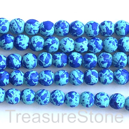 "Bead, synthetic turquoise, 8mm round, mixed blue. 15"", 50"