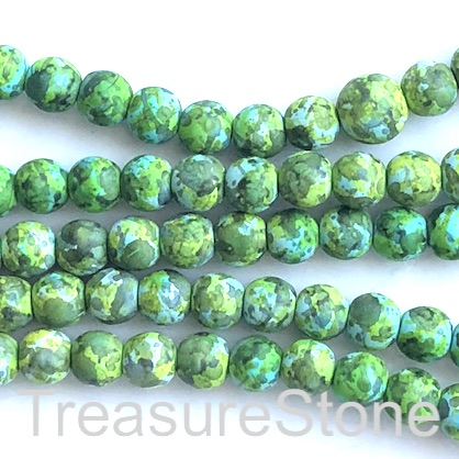 "Bead, synthetic turquoise, 8mm round, mixed green. 15"", 50"