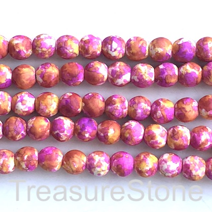 "Bead, synthetic turquoise, 8mm round, pink orange. 15"", 50"