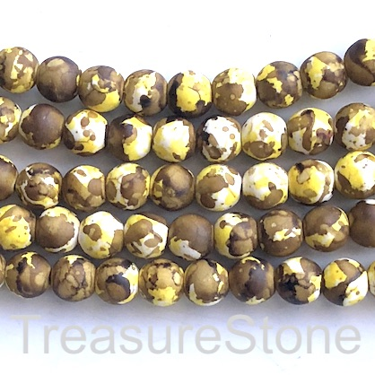 "Bead, synthetic turquoise, 8mm round, yellow brown. 15"", 50"