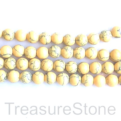 "Bead, synthetic turquoise, 10mm round, yellow. 15"", 40"