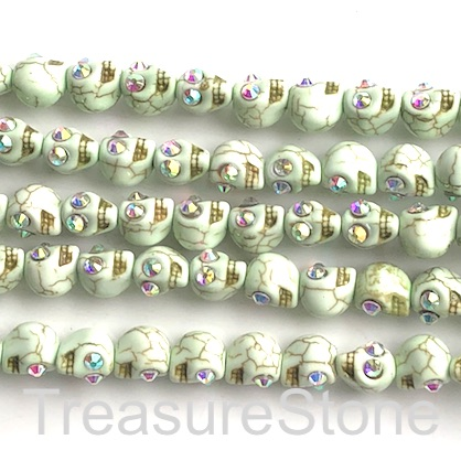 "Bead, synthetic turquoise, 10mm skull, light green. 15"", 36"