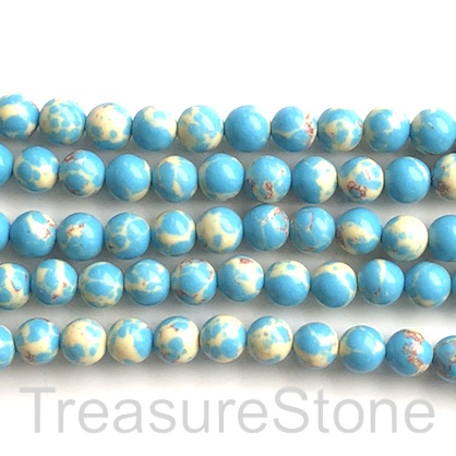 "Bead, syn turquoise, 8mm round, turquoise, yellow. 15"", 48"
