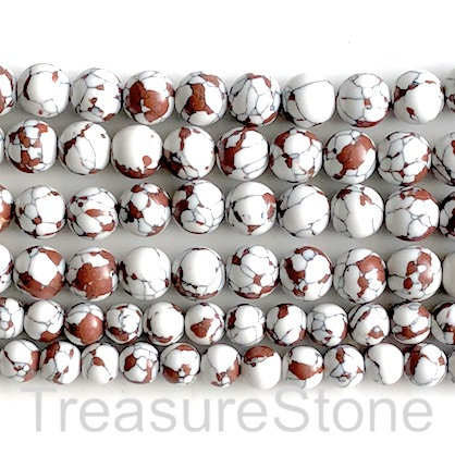 "Bead, synthetic turquoise, 10mm round, white brown. 14"", 37"