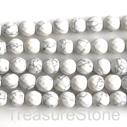 "Bead, synthetic turquoise, 10mm faceted round, white. 15"", 38"