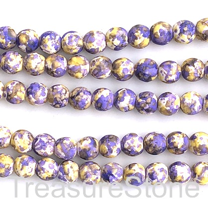 "Bead, synthetic turquoise, 8mm round, yellow purple. 15"", 50"