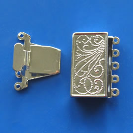 Clasp, 5-strand tab, plated, 22x12mm rectangle.Sold individually