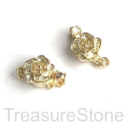 Clasp, tab, gold-plated brass, flower 10mm. each