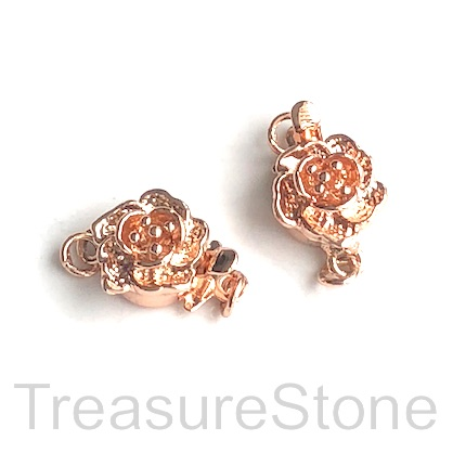 Clasp, tab, rose gold plated brass, flower 10mm. each