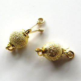 Clasp, tab, gold-plated brass, 8mm round. Sold per pkg of 2.