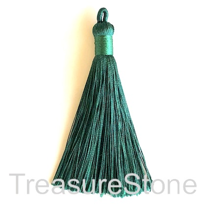 Tassel, silk, 9x78mm, emerald green. Pack of 3