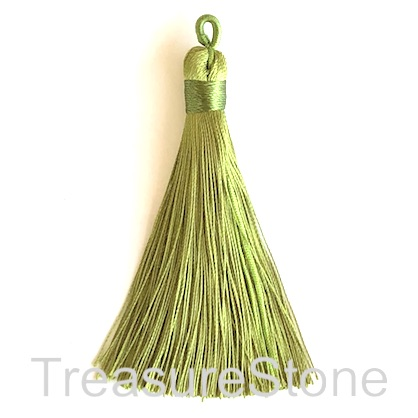 Tassel, silk, 9x78mm, olive green. Pack of 3