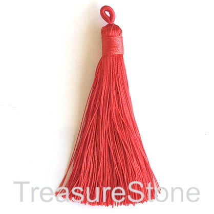 Tassel, silk, 9x78mm, red. Pack of 3