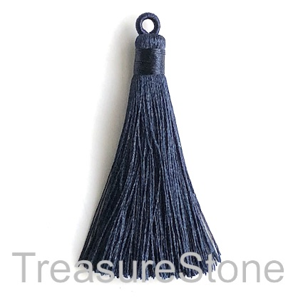 Tassel, silk, 8x68mm, dark blue. Pack of 2