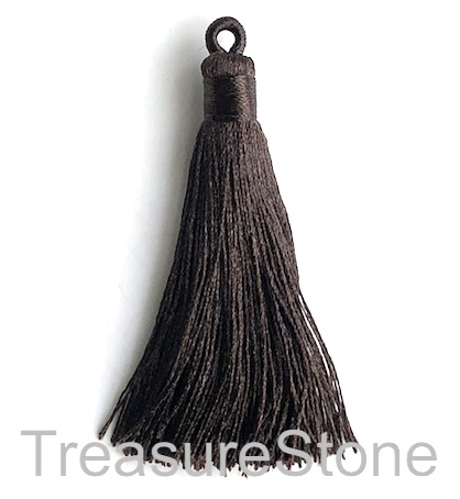 Tassel, silk, 8x68mm, dark brown. Pack of 2
