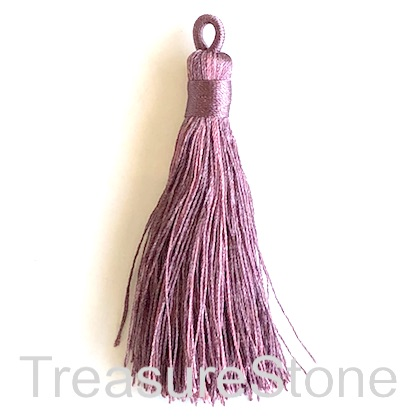 Tassel, silk, 8x68mm, dark mauve. Pack of 2
